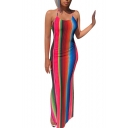 Hot Fashion Halter Neck Sleeveless Rainbow Stripes Printed Backless Bodycon Maxi Dress