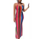 Hot Fashion Halter Neck Sleeveless Rainbow Stripes Printed Backless Bodycon Maxi Dress