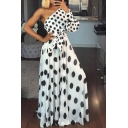 Summer Stylish One Shoulder Long Sleeve Polka Dot Printed Bow-Tied Waist Maxi Wrap White Dress