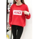 AND Letter Round Neck Long Sleeve Thick Sweatshirt