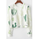 Cactus Printed Round Neck Long Sleeve Cropped White Sweatshirt