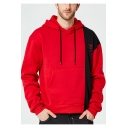 Mens New Fashion Colorblock Patched Asymmetric Hem Long Sleeve Casual Loose Hoodie