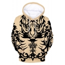 New Fashion Cool Tiger Tattoo Printed Long Sleeve Casual Loose Hoodie