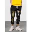 Guys Cool Floral Letter YELLOW LIGHTS Printed Drawstring Waist Loose Relaxed Track Pants