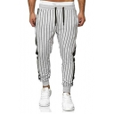 Men's New Trendy Vertical Striped Printed Drawstring Waist Slim Fit Cotton Joggers Pants