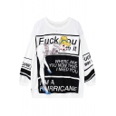 Funny Cool Cartoon Comic Girl Printed Mesh Panel Long Sleeve Relaxed Fit Sweatshirt