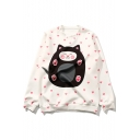 Girls Sweet Allover Heart Cartoon Cat Printed White Casual Loose Sweatshirt
