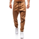 Mens New Fashion Plaid Patched Pocket Drawstring Waist Cotton Loose Pants Trousers