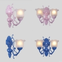 Frosted Glass Flower Wall Lamp Girl Bedroom 1/2 Lights Traditional Sconce Light in Blue/Pink