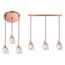 Contemporary Copper Ceiling Light Dome Shade 3 Light Glass Linear/Round Canopy Island Light for Bedroom