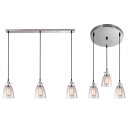 Dome Dining Room Island Light Glass 3 Lights Industrial Linear/Round Canopy Ceiling Light in Chrome