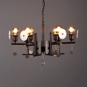 Industrial Open Bulb Chandelier Metal 6 Lights Rust Pendant Lamp with Crystal for Dining Room