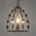 Candle Dining Room Chandelier Metal 3 Lights Rustic Style Pendant Light with Leaf in Black