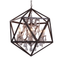 Restaurant Candle Shape Pendant Light with Polyhedron Shade Metal Clear Crystal 6 Lights Chandelier