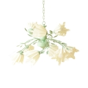 Beautiful Green Ceiling Light Flower Shade 9 Lights Frosted Glass Chandelier with Leaf for Restaurant