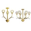 Metal Floral Theme Ceiling Light Bedroom 3/6 Lights Traditional Semi Flush Mount Light in Brass