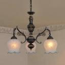 Traditional White Engraved Chandelier Flower 3/5/6/8 Lights Opal Glass Pendant Light for Living Room