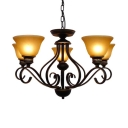 Frosted Glass Bowl Chandelier Study Room 5 Lights Antique Style Ceiling Light in Beige