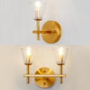 Elegant Style Brass Wall Light Candle 1/2 Lights Metal Sconce Light with Cone Shade for Stair