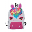 New Creative Laser Colorblock Unicorn Pattern White Oxford Cloth Backpack for Girls 40*28*11 CM