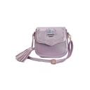 Fashion Floral Embroidery Tassel Embellishment Crossbody Saddle Bag 19*8*17 CM