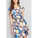 Womens Summer Trendy Round Neck Short Sleeve Mini A-Line Dress