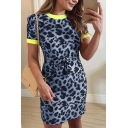 Womens Summer Hot Fashion Contrast Hem Camo Printed Tied Waist Mini Bodycon Dress