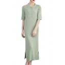 Women's Summer Simple Plain Button Front Turn-Down Collar Short Sleeve Maxi Shift Knit Polo Dress