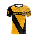 Fashion Snake Logo Letter Color Block Basic Short Sleeve Round Neck Yellow T-Shirt