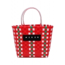 New Fashion Letter Patchwork Colorblock Woven Basket Beach Tote Bag 21*15.5*23 CM
