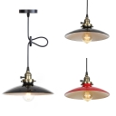 Black/Red Dome Shade Pendant Light 1/2 Pack 1 Light Antique Style Metal Hanging Light for Factory