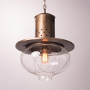 Onion Shade Pendant Lighting 1 Light Vintage Style Clear Glass Hanging Light for Restaurant
