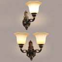 1/2 Lights Flower Wall Light Antique Style Metal Sconce Light in Black for Bathroom Hallway