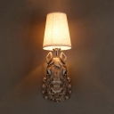 Tapered Shade Restaurant Wall Sconce with Horse Decoration Resin 1 Light Rustic Style Sconce Lamp