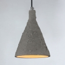 Study Room Conical Pendant Light Cement One Light Antique Style Gray Hanging Lamp
