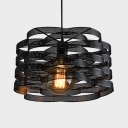 Art Deco Black Hanging Lamp with Mesh Shade 1 Light Edison Bulb Pendant Light for Restaurant
