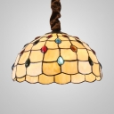 Scalloped Bedroom Hanging Light with Colorful Jewelry 1 Light Tiffany Ceiling Lamp in Beige