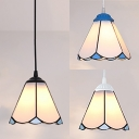 Bedroom White Shade Pendant Light Glass 1 Light Contemporary Black/Blue/White Ceiling Light