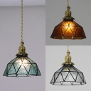 Traditional Bowl Pendant Light Faceted Glass 1 Light Black/Brass Canopy Ceiling Light for Corridor