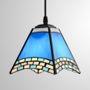 Glass Craftsman Pendant Light Tiffany Nautical Style Suspension Light in Blue for Dining Room