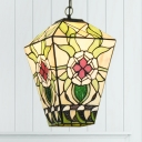 Tiffany Rustic Colorful Hanging Lamp Flower 1 Light Glass Suspension Light for Study Room