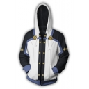Fashion Black and White Comic Cosplay Costume Relaxed Fit Zip Up Hoodie