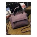 Popular Solid Color Large Capacity Purple PU Leather Satchel Tote Bag 25*12*18 CM