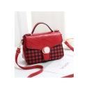 Fashion Plaid Pattern Metal Ring Embellishment Satchel Shoulder Bag 25*9*17 CM