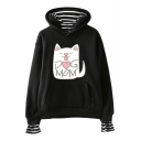 Cute Cartoon Cat Letter DOG MOM Printed Fake Two-Piece Loose Casual Hoodie
