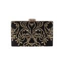 Designer Unique Embroidery Pattern Black Box Evening Clutch Bag for Women 20*12*4 CM