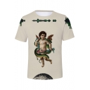 Cute Angel Baby Printed Basic Round Neck Short Sleeve White T-Shirt