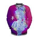 Popular Vaporwave Cool 3D Figure Sculpture Print Rib Stand Collar Button Front Baseball Jacket