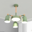 4 Heads Bucket Round Chandelier Macaron Loft Acrylic Pendant Lamp in Green for Dining Room