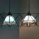 Craftsman/Lodge Ceiling Pendant 1 Light Tiffany Antique Glass Ceiling Light for Balcony